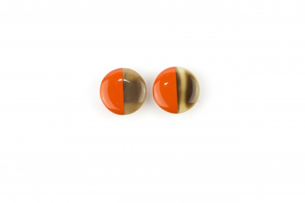disc earrings with ear-clip and orange lacquer