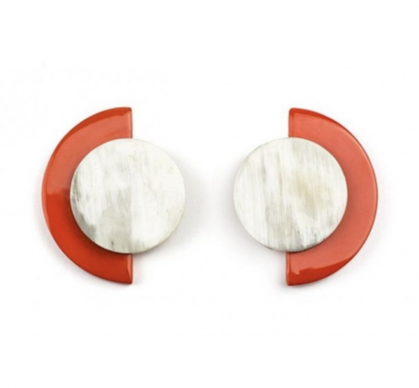 Horn terrasse earrings orange lacquer